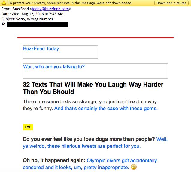 BuzzFeed mail sin imagen